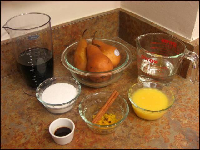 Pears in red wine ingredients