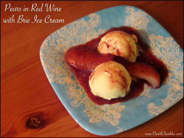 Pears In Red Wine with Brie Ice Cream