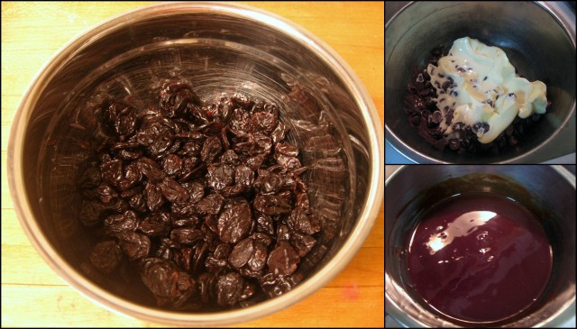 Soak cherries and melt chocolate
